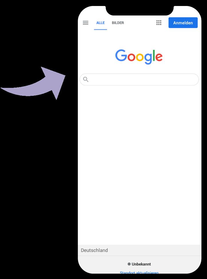 Smartphone mit Google Suche